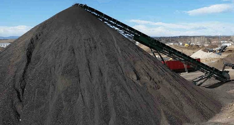 pile of asphalt in landfill to be recycled